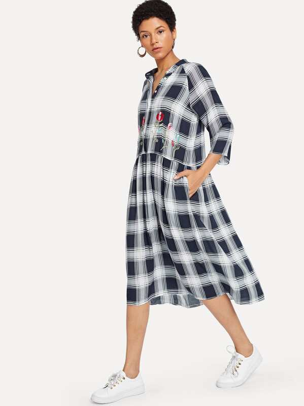 Floral Embroidered Button Half Placket Plaid Dress by Shein