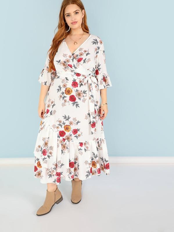 reputación confiable marca famosa zapatos de separación Vestido cruzado con estampado floral de talla grande