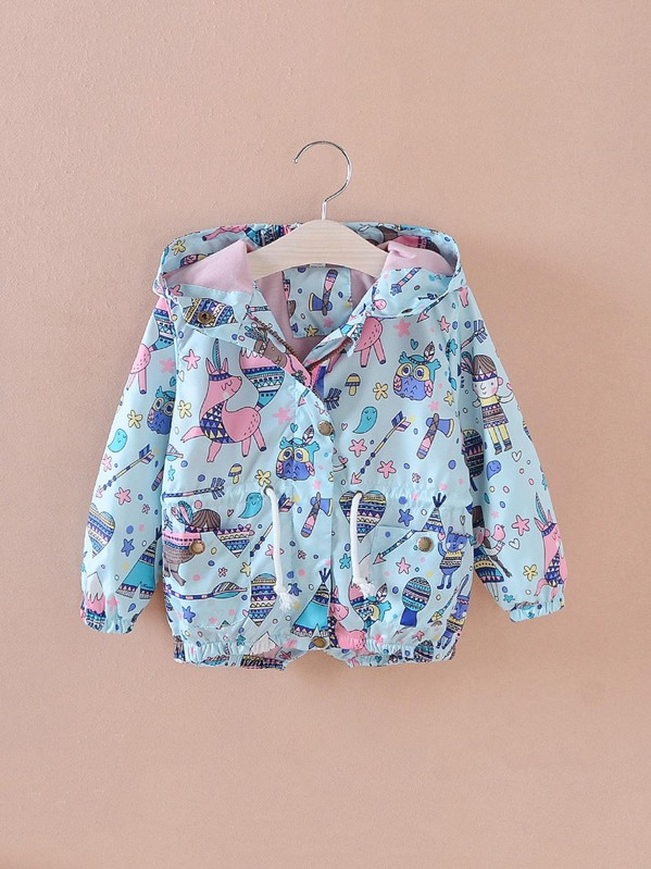 4d449f078 Toddler Girls Cartoon Print Drawstring Hooded Jacket -SheIn(Sheinside)