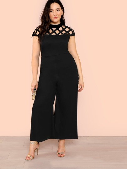 5313db75dbc Plus Geo Cut Out Yoke Wide Leg Jumpsuit