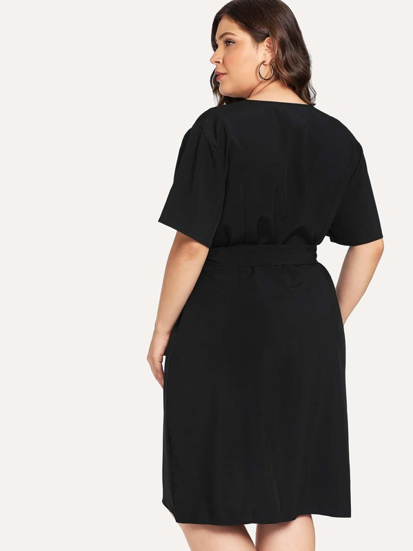 ebf4073f91a Plus Curved Hem Surplice Wrap Dress -SHEIN(SHEINSIDE)
