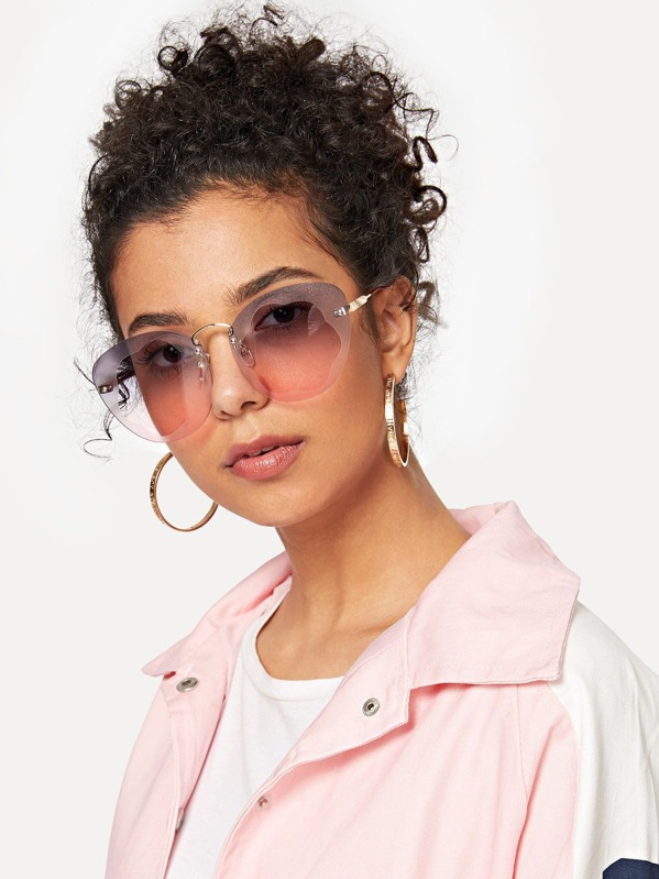 75d433fa90 Ombre Lens Rimless Sunglasses -SHEIN(SHEINSIDE)