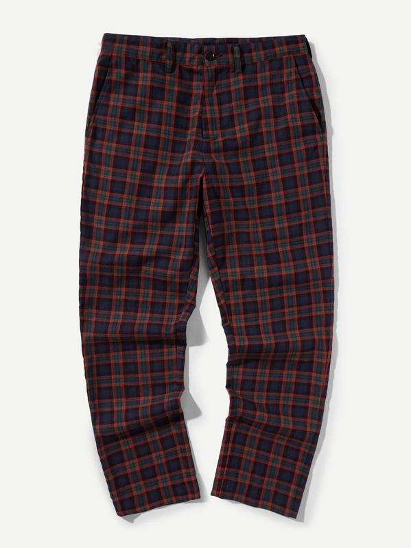 b3899b1487 Men Button Fly Plaid Peg Leg Pants -SheIn(Sheinside)