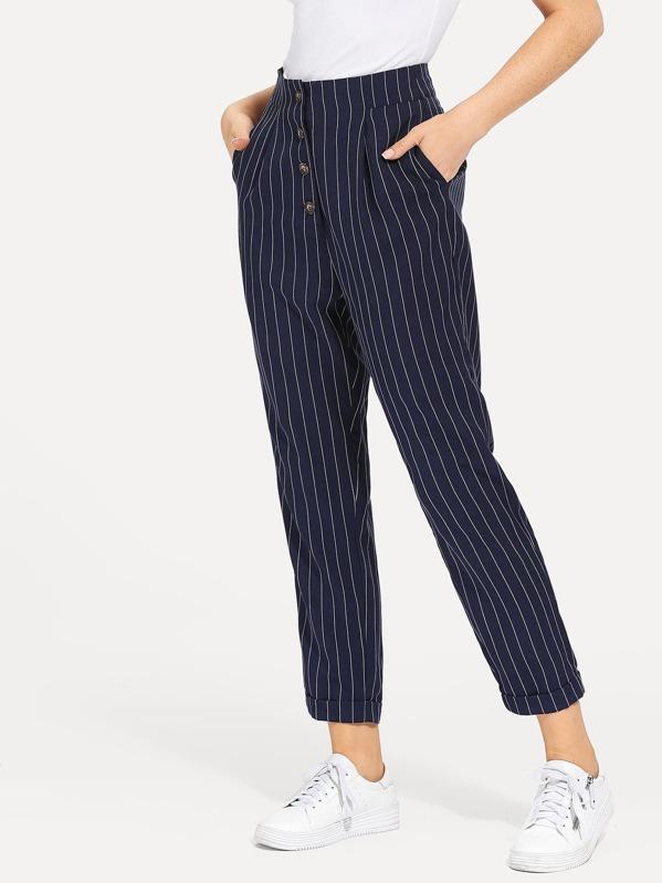 5639fa620a Slant Pocket Button Up Striped Pants -SheIn(Sheinside)