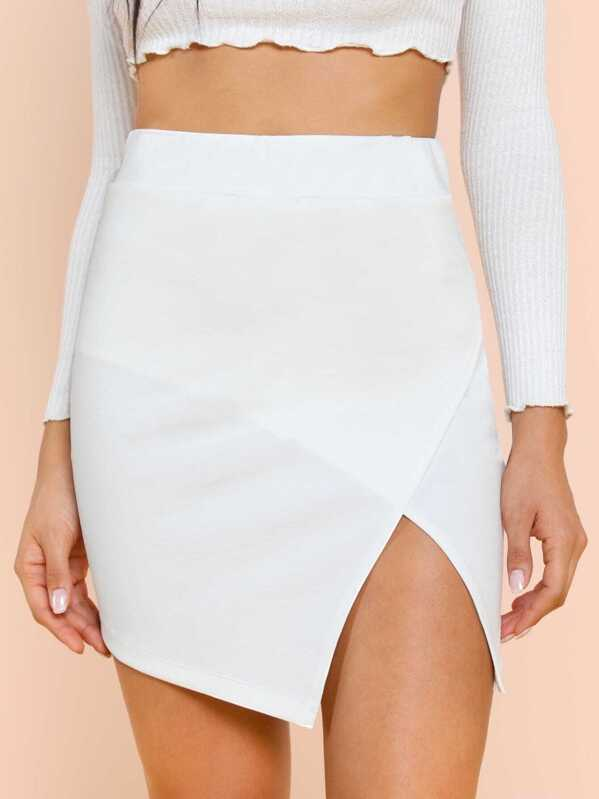 Split Front Solid Skirt by Shein