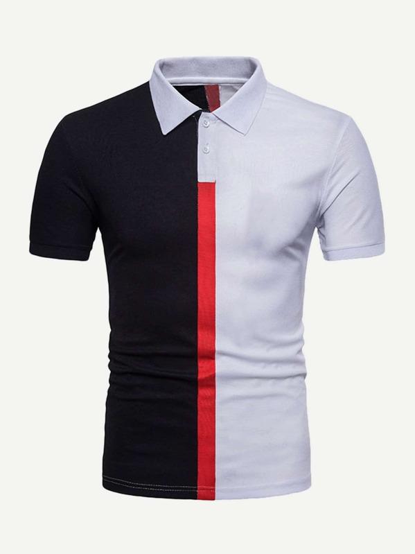 1849cee68d Men Cut And Sew Panel Polo Shirt -SheIn(Sheinside)