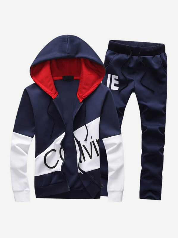 8ae0689a68 Men Cut And Sew Panel Zip Up Hoodie With Pants -SheIn(Sheinside)