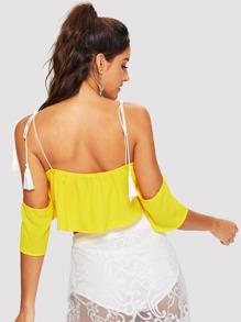 6124aade1b18d Cheap Neon Yellow Tassel Tie Cold Shoulder Top for sale Australia ...