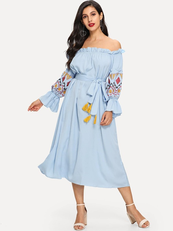Embroidered Lantern Sleeve Bardot Dress with Tassel Belt