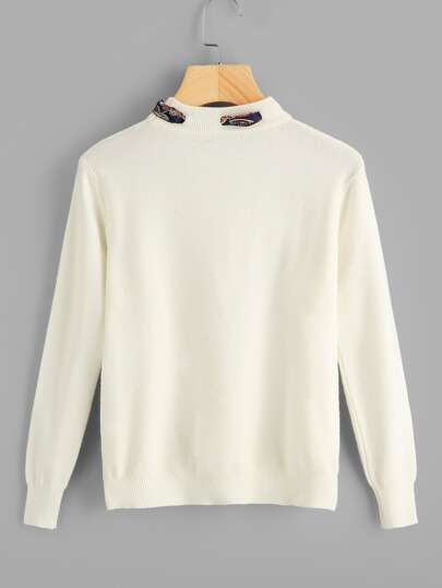 Solid Knotted Decoration Sweater  c1af6a428