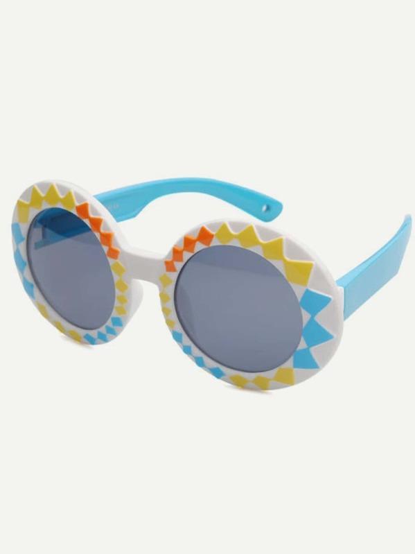 93901ca04 غير الرسمي المستدير متعدد الألوان نظارات شمسية للأطفال - Arabic  SheIn(Sheinside)