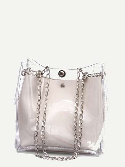 b039b24dd214 Clear Chain Tote Bag With Inner Pouch
