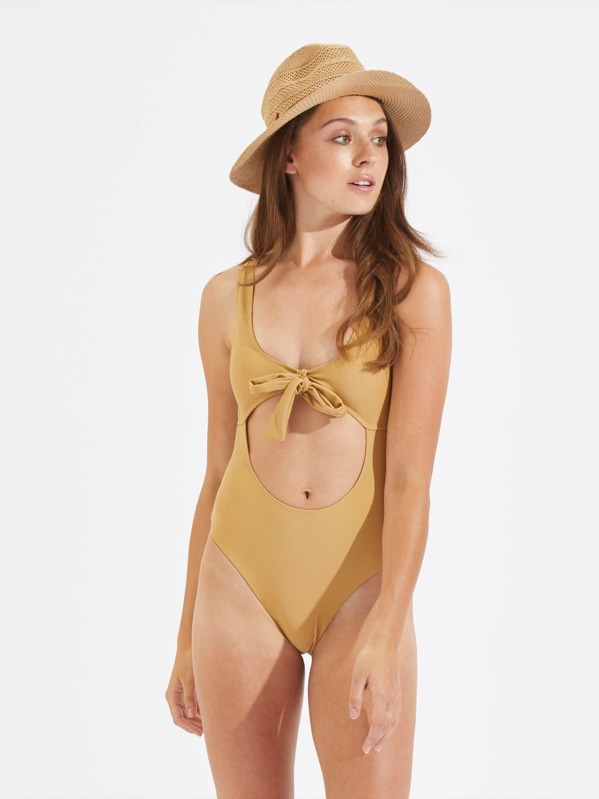 50b99fedcb2 Cut Out Knot Front Swimsuit -SheIn(Sheinside)