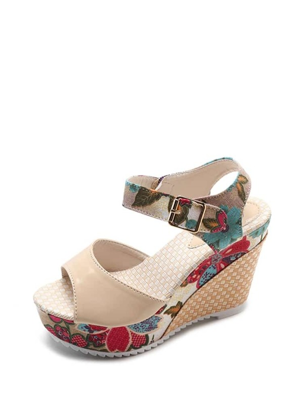 2b261bda2b148e Flower Pattern Wedge Sandals -SHEIN(SHEINSIDE)