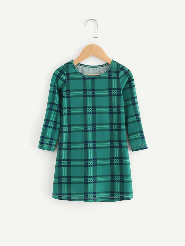 Shein Toddler Girls Plaid Long Sleeve Dress $8