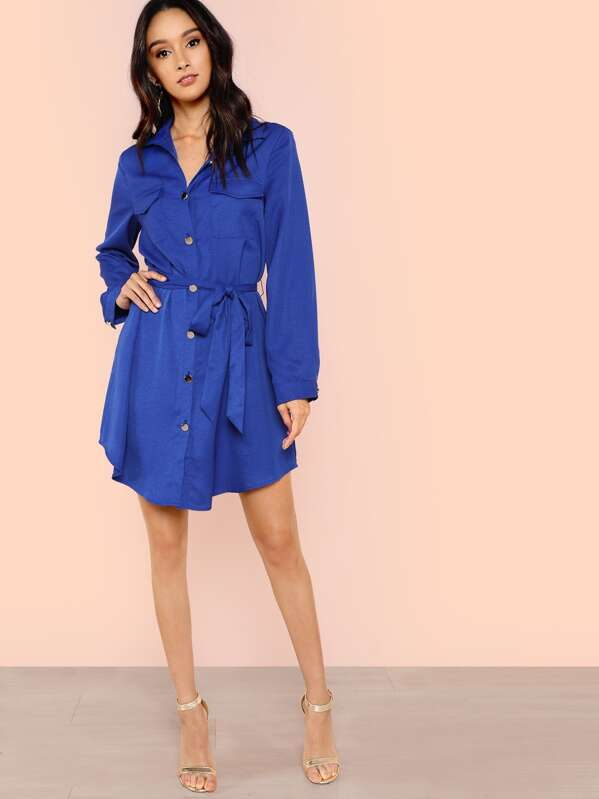 Button Up Pocket Patched Belted Dress by Shein