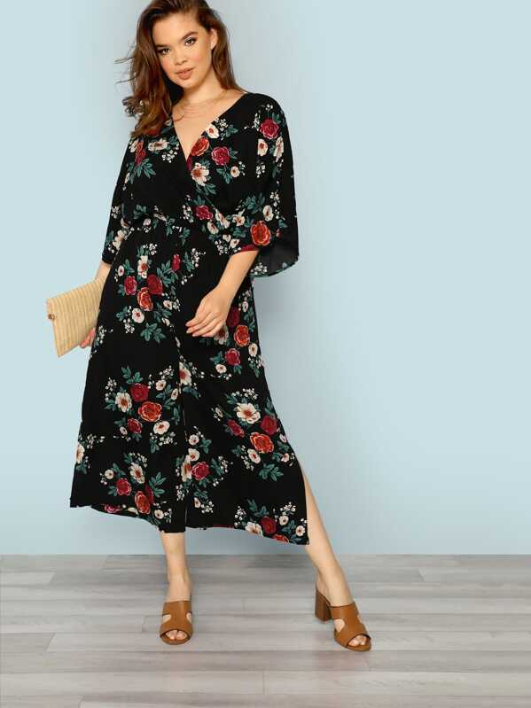 ef0610c742 Plus Batwing Sleeve Slit Hem Surplice Wrap Floral Jumpsuit -SheIn(Sheinside)