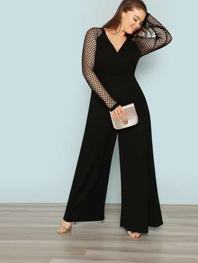 087c298d127 Plus Fishnet Sleeve Wide Leg Jumpsuit