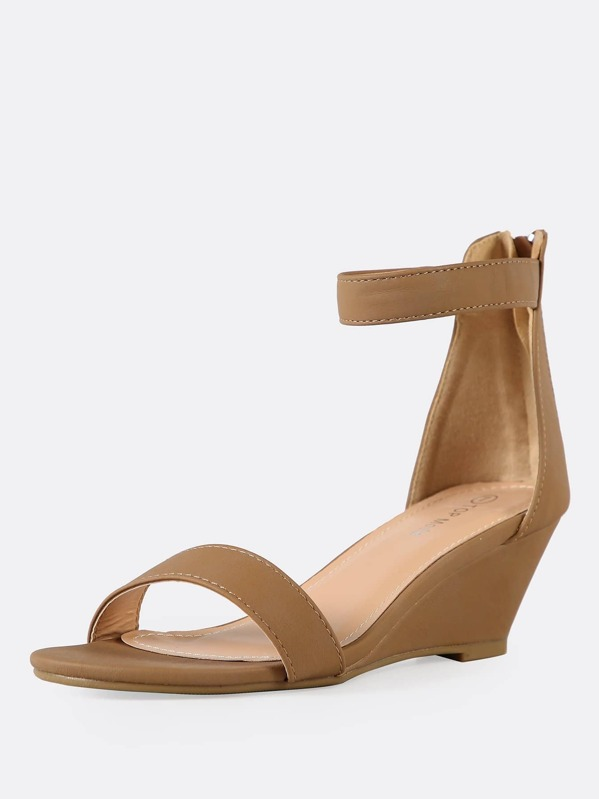 e0ae890bf516b3 Single Band Ankle Strap Wedge Sandal -SheIn(Sheinside)