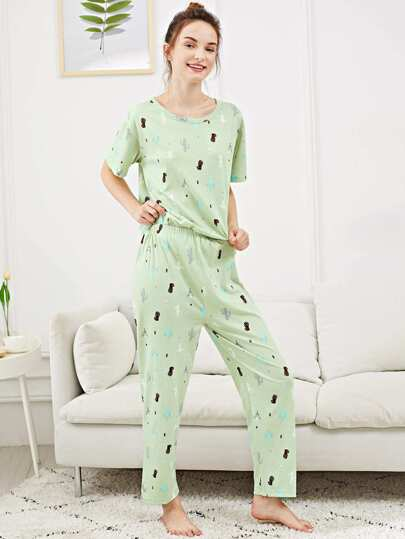 All Over Cactus Print Pajama Set 79fcc987f