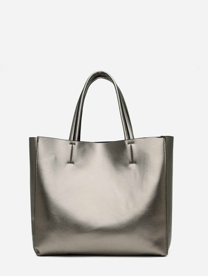 ae54aafb4e6b Metallic Tote Bag With Inner Pouch