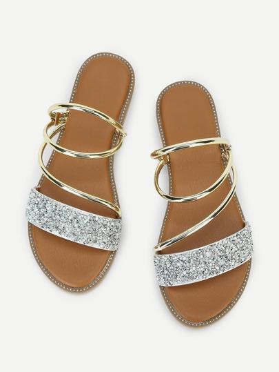3c82e88e17e1 Metallic Convertible Strap Sandals
