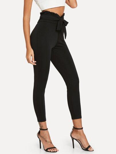 Pantalones pitillo con lazo en la cintura - negro 06e0812b9c8
