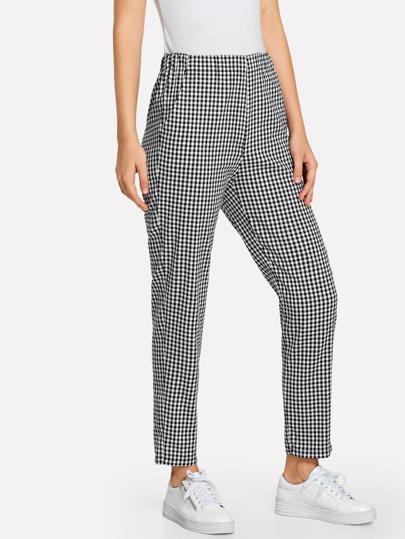 Pantalones de cuadros con cintura elástica ef552a26abf