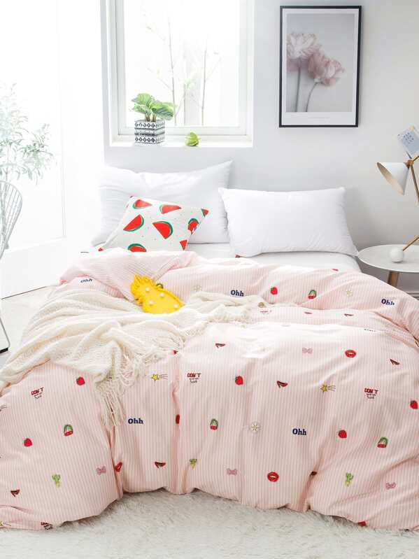 6fb41a4c62 Cheap Fruit & Striped Print Duvet Cover 1PC for sale Australia | SHEIN