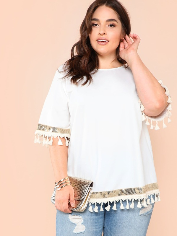 Plus Contrast Sequin Tassel Detail Belted Top by Shein