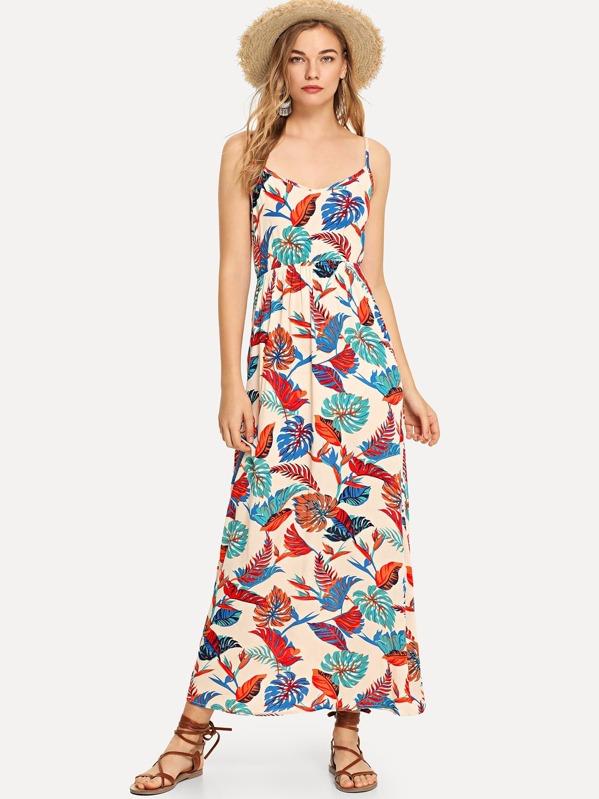 Jungle Leaf Print Cami Dress -SheIn(Sheinside) 07ac3aef2