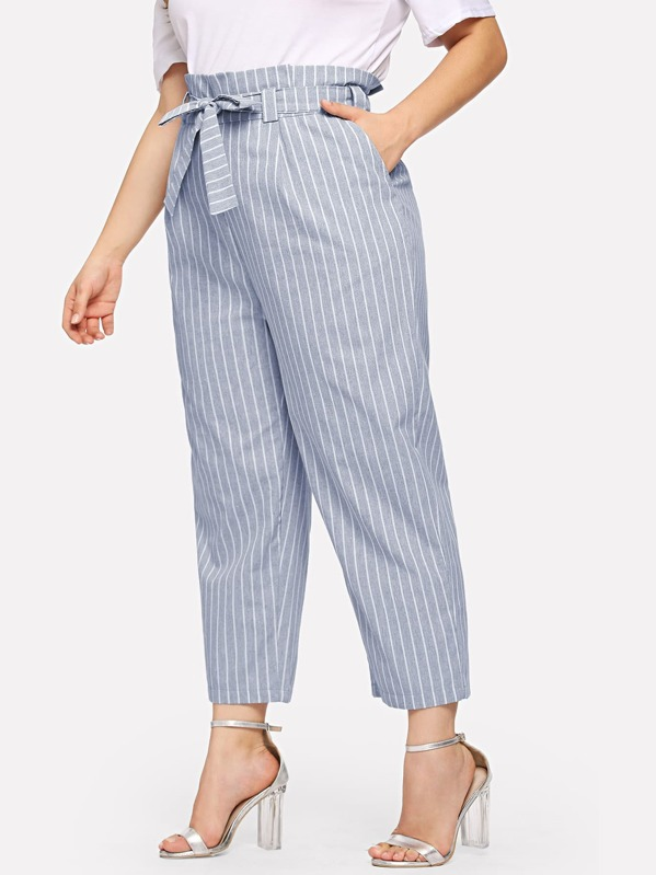 548a9380a55 Plus Vertical-Stripe Peg Leg Pants