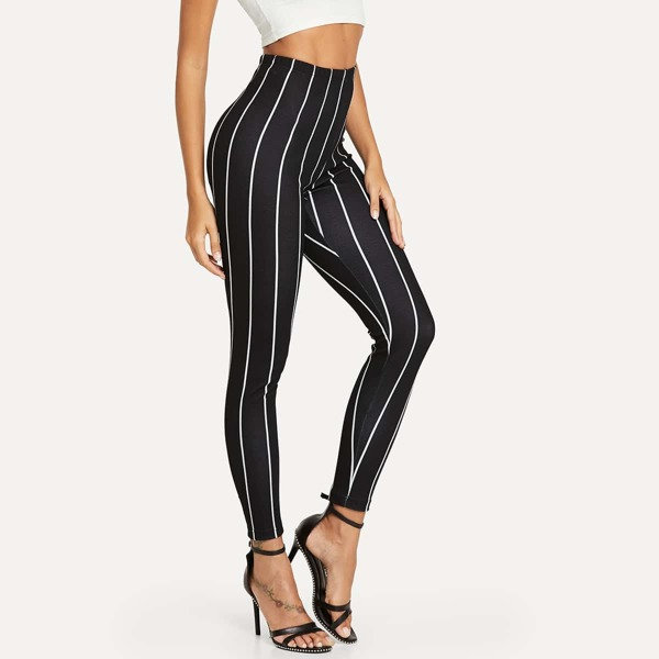 High Rise Striped Leggings, Black and white