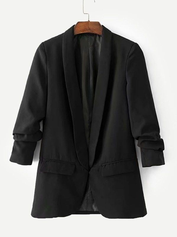 Shawl Collar Tailored Blazer, Black