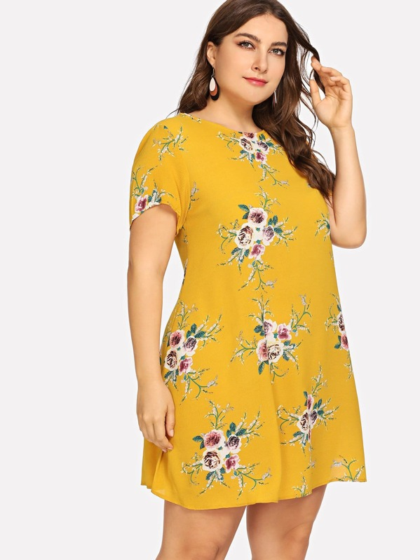cd8e0fedd4e Plus Flower Print Tunic Dress