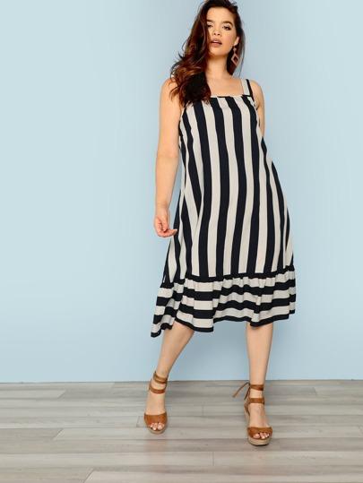 0b9f1a1af4 Plus Ruffle Hem Striped Dress