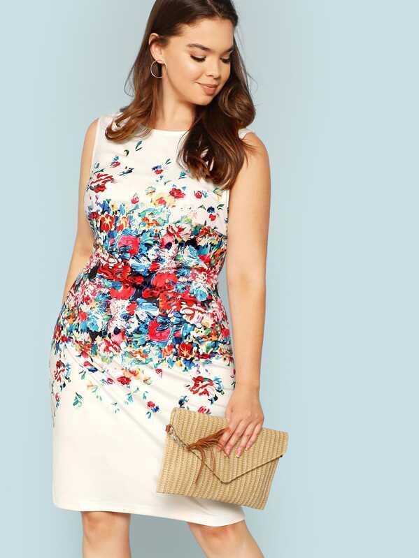 10d5021095 Plus Form Fitting Floral Shell Dress -SheIn(Sheinside)