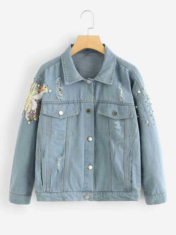 Contrast Sequins Pearls Beaded Denim Jacket, Blue