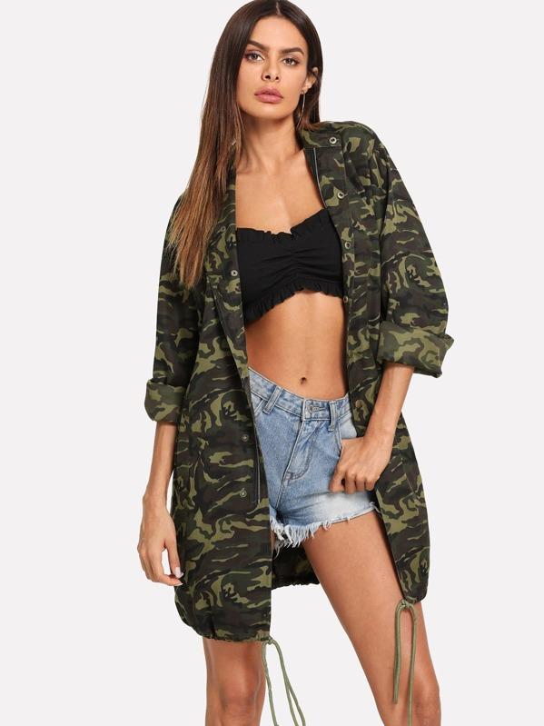 Avec Shein Imprimé Manteau Camouflage Cordon 0pwqa