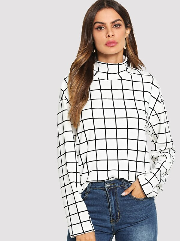 High Neck Grid Print Blouse by Shein