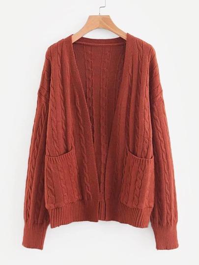 8b1adac5e0 Drop Shoulder Cable Knit Cardigan