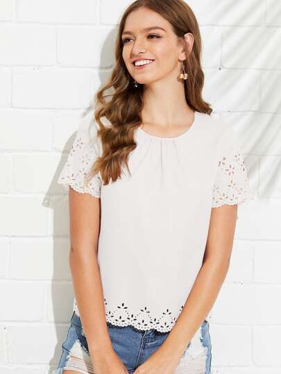 d1672772004 Gathered Neck Scallop Laser Cut Top