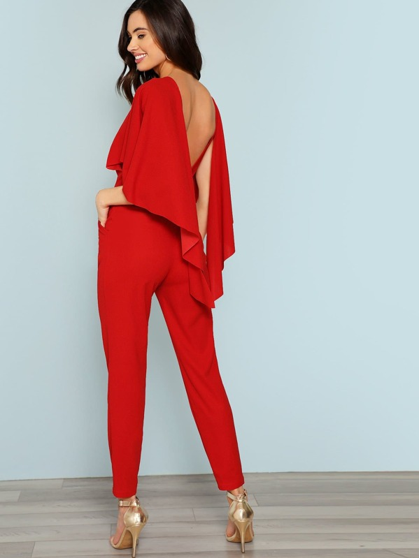 Open Shoulder Solid Cape Jumpsuit by Shein