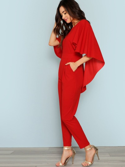 d6d1204241bb Slant Pocket Backless Cape Jumpsuit