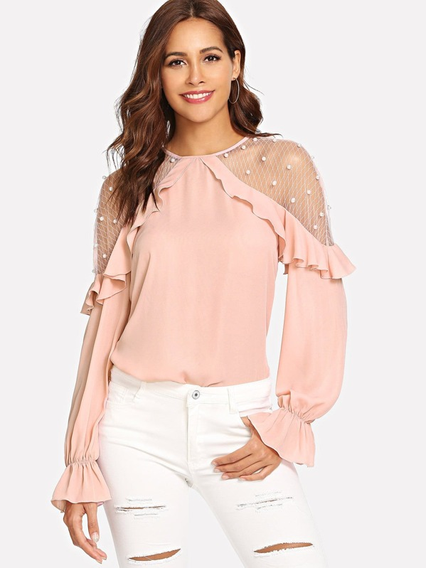 Mesh With Pearl Detail Ruffle Trim Top by Shein