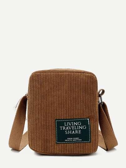 a8313b1e6b Ribbed Detail Slogan Patch Bag