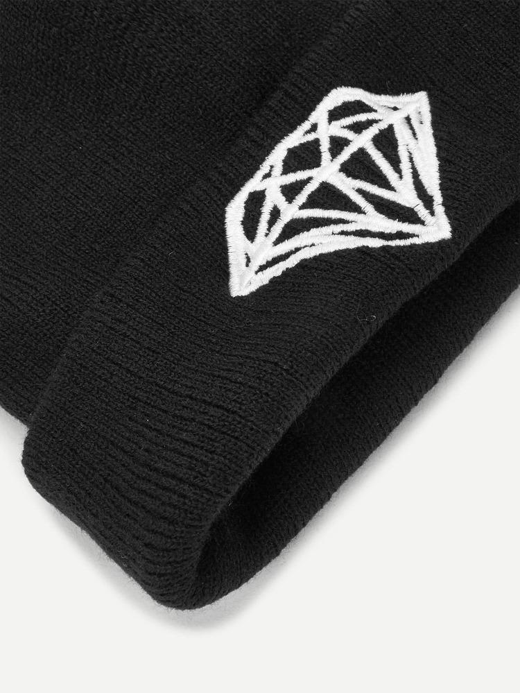 0edf768647 Embroidered Diamond Beanie Hat | SHEIN