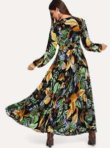 Jungle Leaf Print Button Up Dress  32241837e
