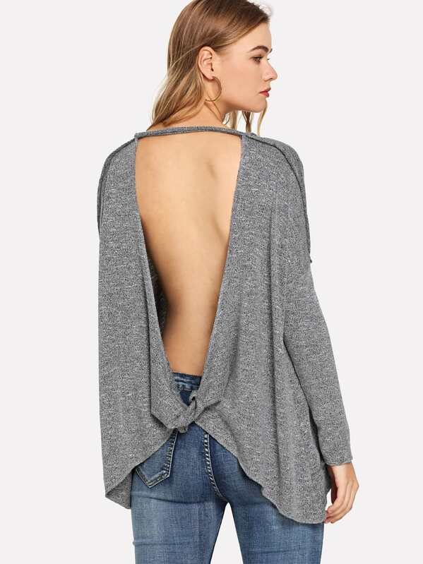Solid Tunic Long Sleeve Tee by Shein