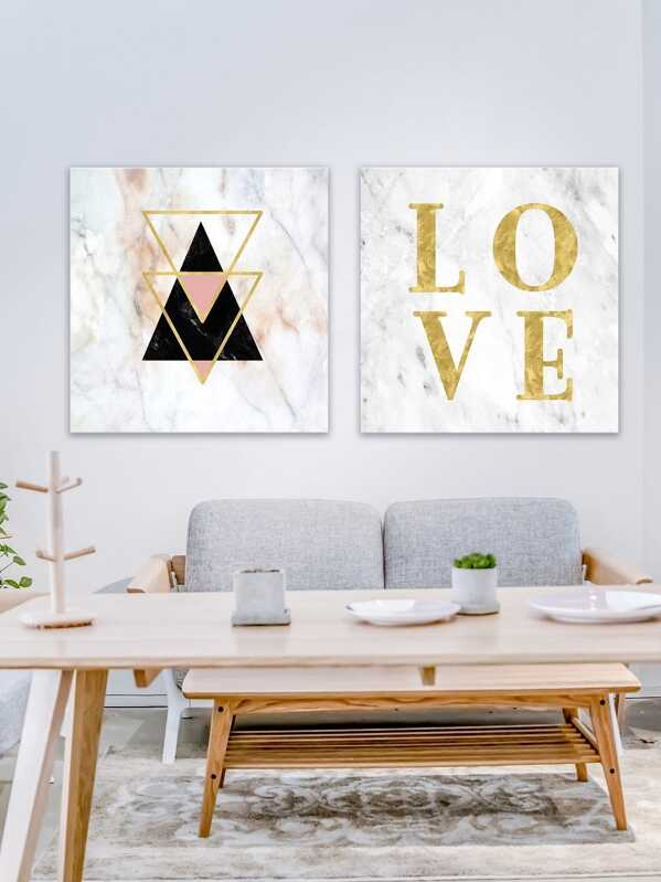 Letter & Geometric Painting Cloth Wall Art 2pcs -SheIn(Sheinside)